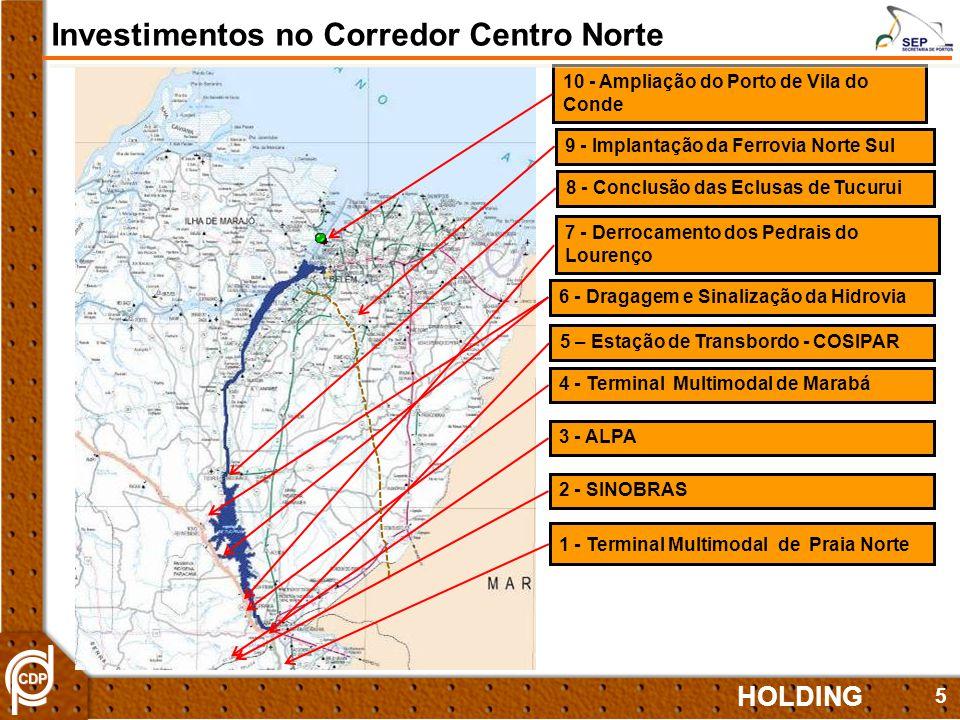 5 8 - Conclusão das Eclusas de Tucurui 7 - Derrocamento dos Pedrais do Lourenço 4 - Terminal Multimodal de Marabá 9 - Implantação da Ferrovia Norte Su