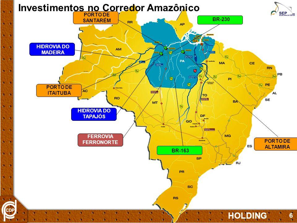 6 PORTO DE ITAITUBA PORTO DE SANTARÉM HIDROVIA DO MADEIRA BR-230 HIDROVIA DO TAPAJÓS PORTO DE ALTAMIRA BR-163 FERROVIA FERRONORTE Investimentos no Corredor Amazônico HOLDING