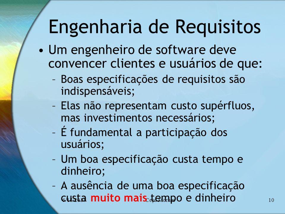 6/18/2014Ceça Moraes10 Engenharia de Requisitos Um engenheiro de software deve convencer clientes e usuários de que: –Boas especificações de requisito
