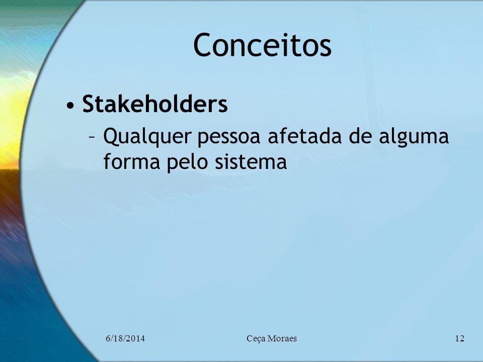 6/18/2014Ceça Moraes12 Conceitos Stakeholders –Qualquer pessoa afetada de alguma forma pelo sistema