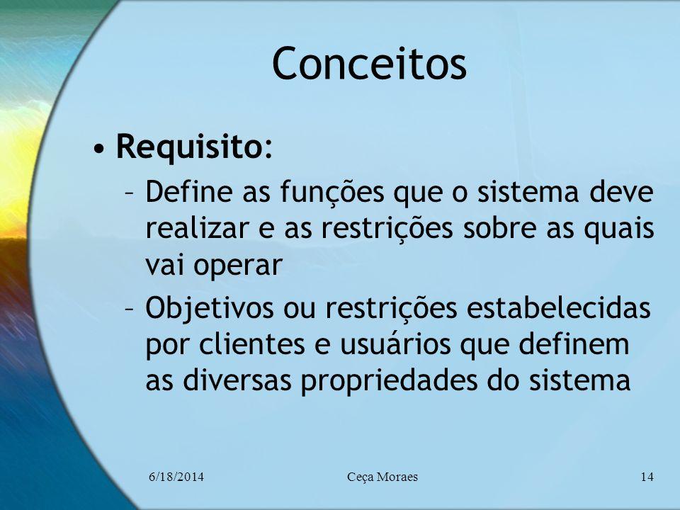 6/18/2014Ceça Moraes14 Conceitos Requisito: –Define as funções que o sistema deve realizar e as restrições sobre as quais vai operar –Objetivos ou res