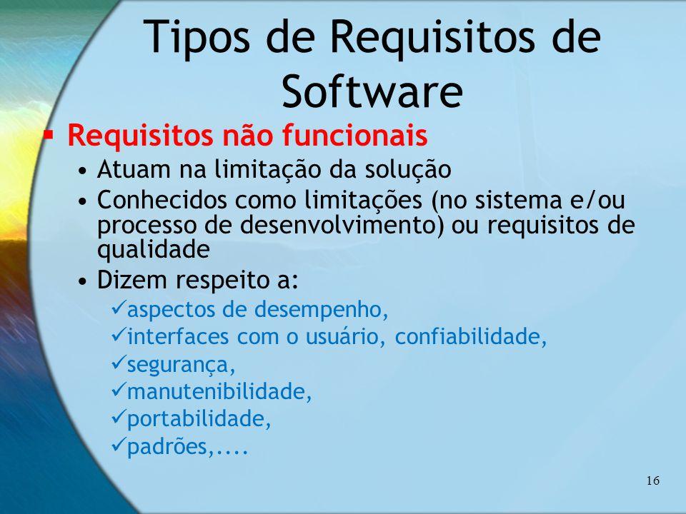 Tipos de Requisitos de Software Requisitos não funcionais Atuam na limitação da solução Conhecidos como limitações (no sistema e/ou processo de desenv
