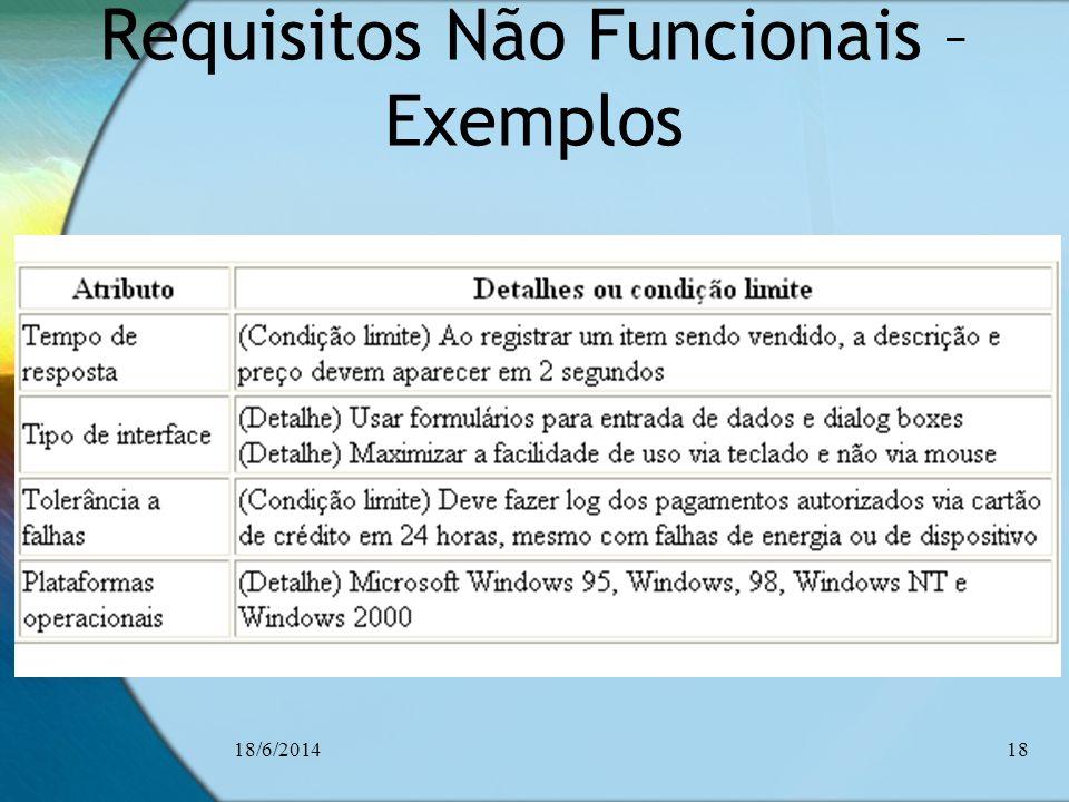 Requisitos Não Funcionais – Exemplos 18/6/201418