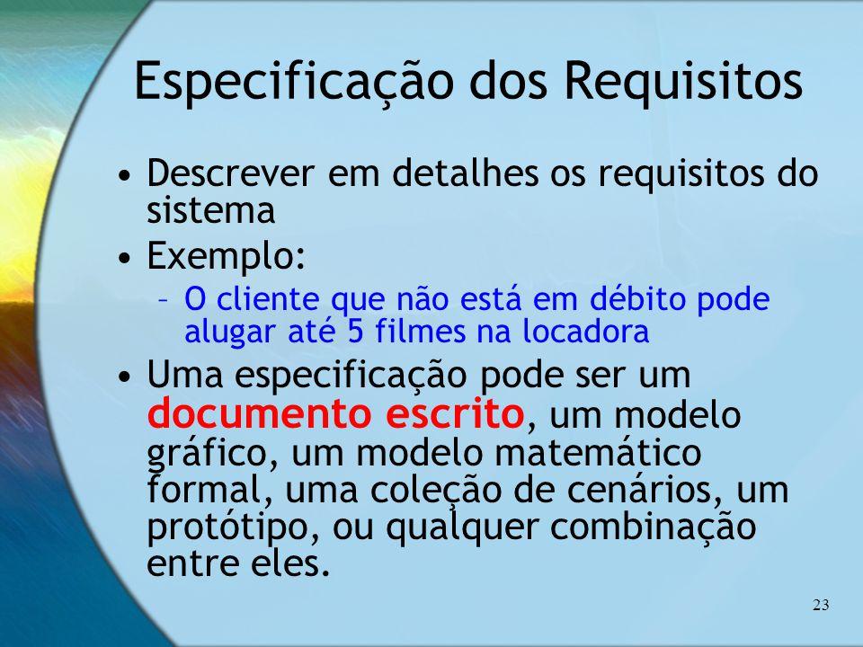 23 Especificação dos Requisitos Descrever em detalhes os requisitos do sistema Exemplo: –O cliente que não está em débito pode alugar até 5 filmes na