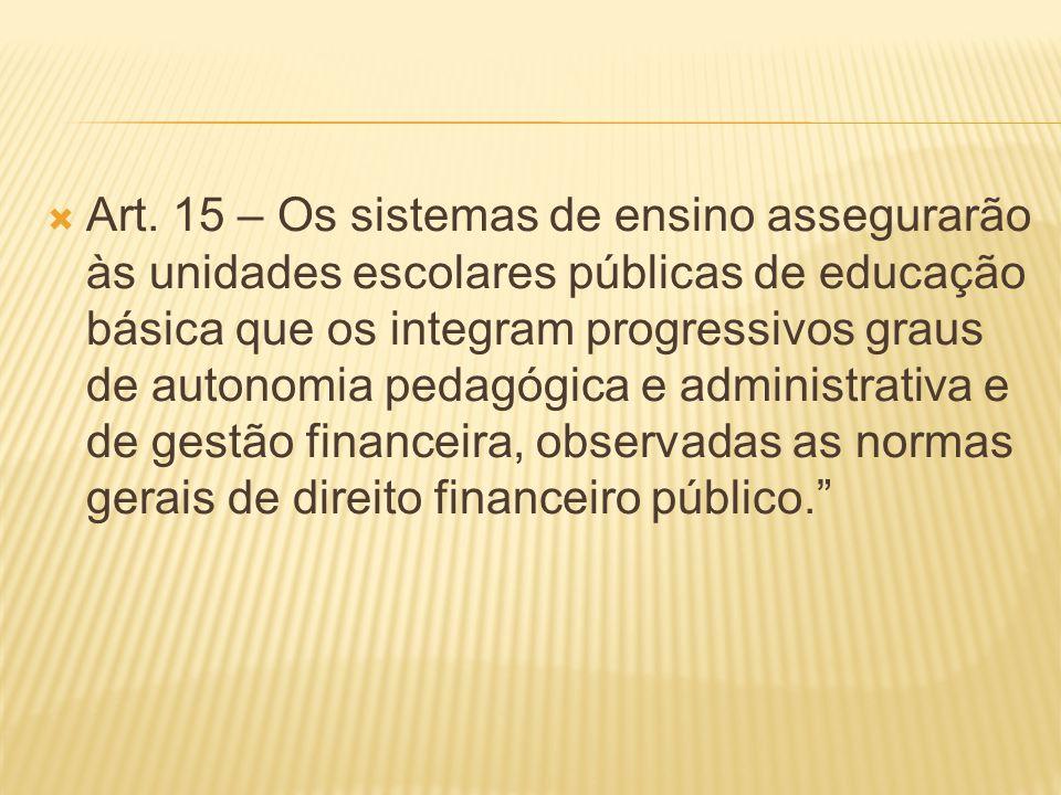 Art. 15 – Os sistemas de ensino assegurarão às unidades escolares públicas de educação básica que os integram progressivos graus de autonomia pedagógi