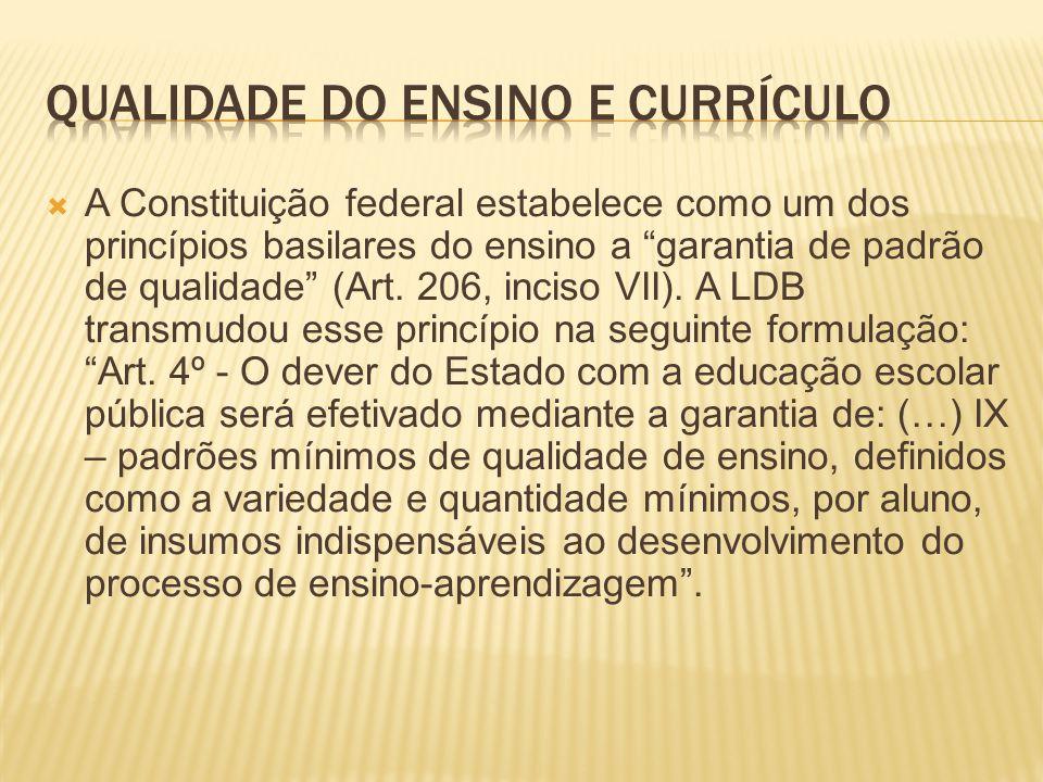 A Constituição federal estabelece como um dos princípios basilares do ensino a garantia de padrão de qualidade (Art.
