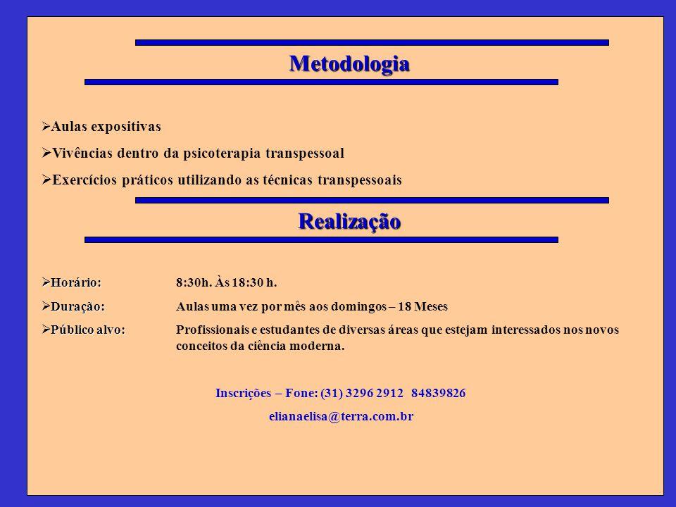 Metodologia Aulas expositivas Vivências dentro da psicoterapia transpessoal Exercícios práticos utilizando as técnicas transpessoais Realização Horári
