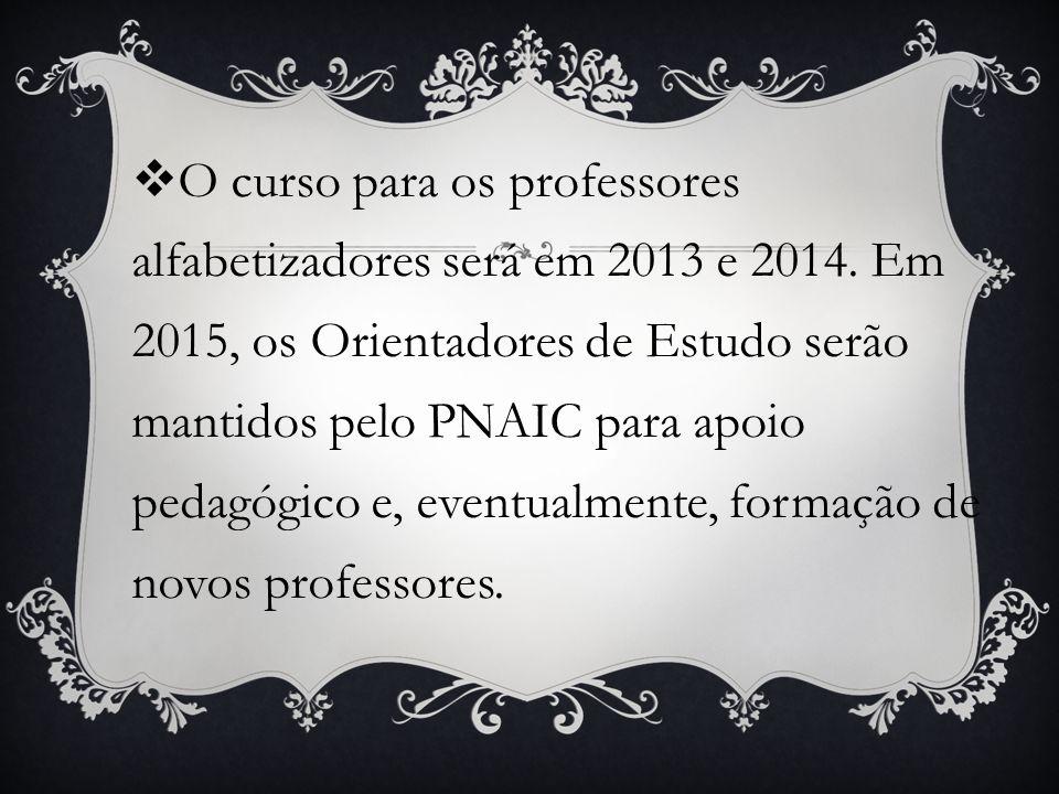 O curso para os professores alfabetizadores será em 2013 e 2014. Em 2015, os Orientadores de Estudo serão mantidos pelo PNAIC para apoio pedagógico e,