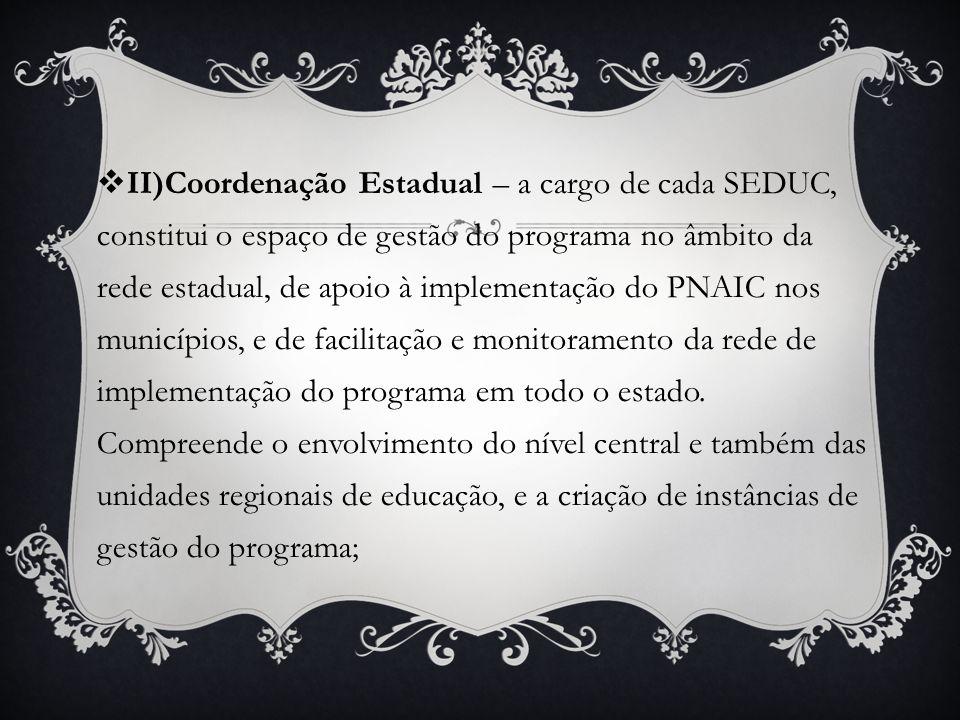 II)Coordenação Estadual – a cargo de cada SEDUC, constitui o espaço de gestão do programa no âmbito da rede estadual, de apoio à implementação do PNAI