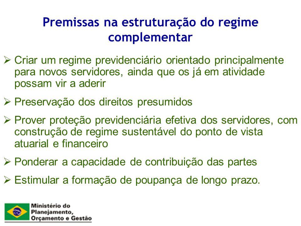 Premissas na estruturação do regime complementar Criar um regime previdenciário orientado principalmente para novos servidores, ainda que os já em ati