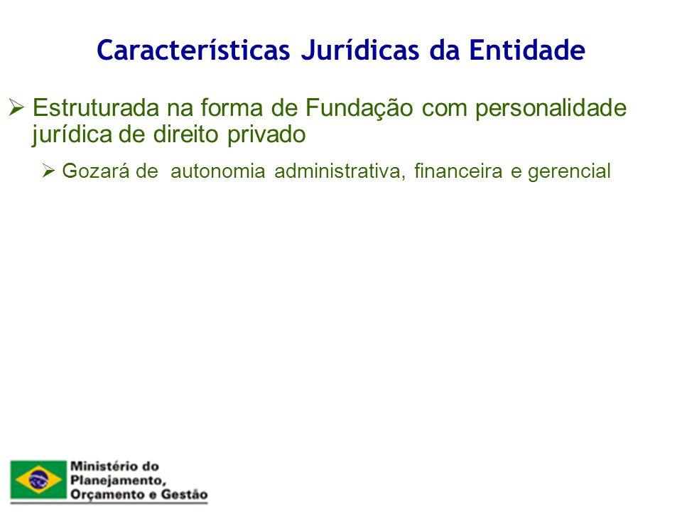 Estruturada na forma de Fundação com personalidade jurídica de direito privado Gozará de autonomia administrativa, financeira e gerencial Características Jurídicas da Entidade