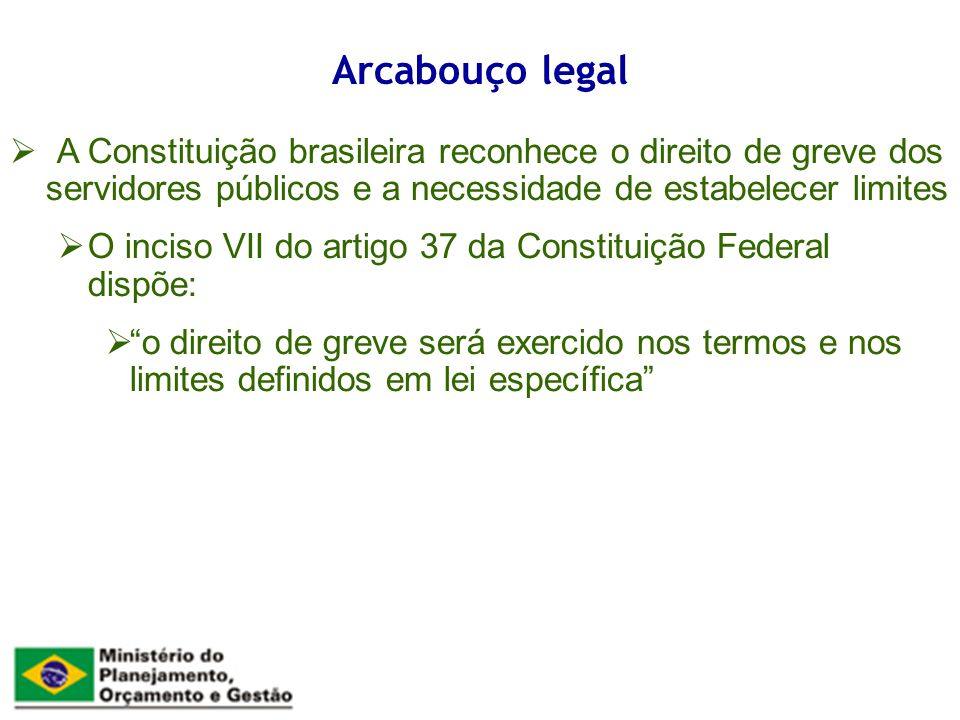 A Constituição brasileira reconhece o direito de greve dos servidores públicos e a necessidade de estabelecer limites O inciso VII do artigo 37 da Constituição Federal dispõe: o direito de greve será exercido nos termos e nos limites definidos em lei específica Arcabouço legal