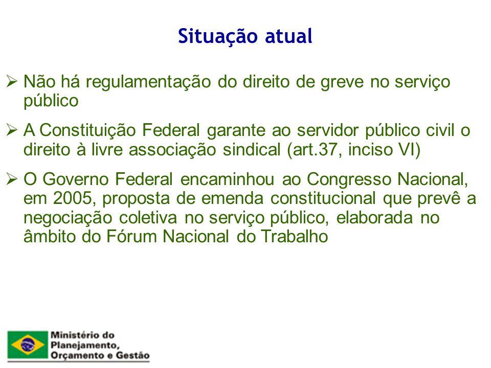 Não há regulamentação do direito de greve no serviço público A Constituição Federal garante ao servidor público civil o direito à livre associação sin