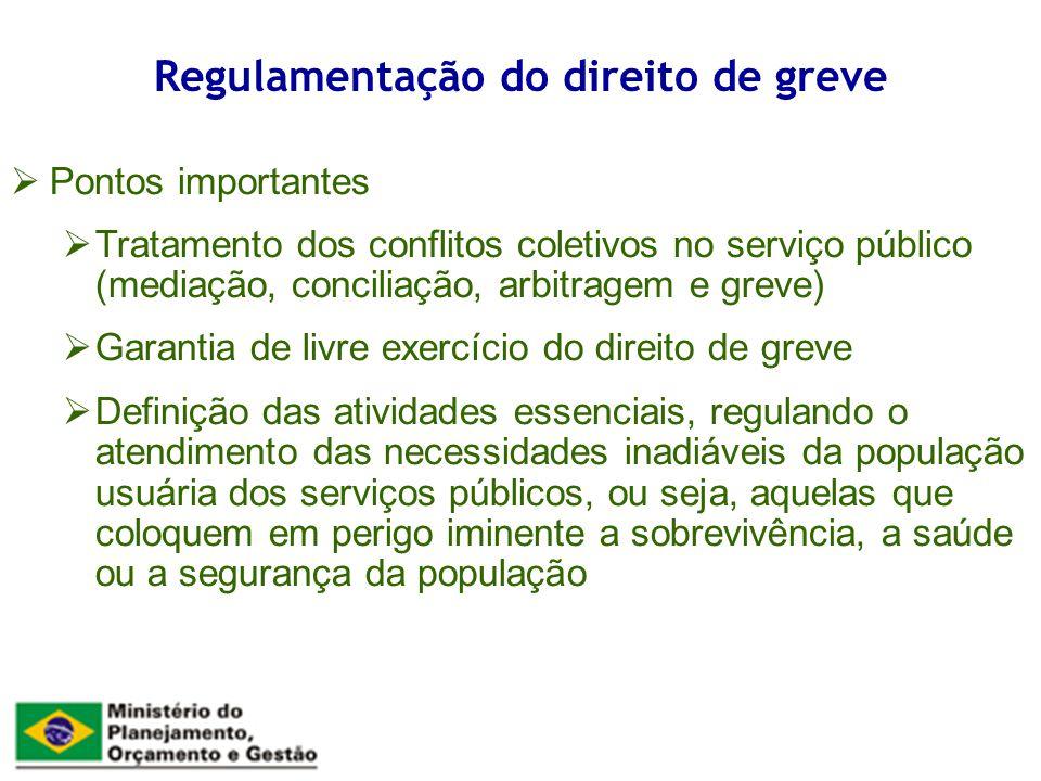 Pontos importantes Tratamento dos conflitos coletivos no serviço público (mediação, conciliação, arbitragem e greve) Garantia de livre exercício do di