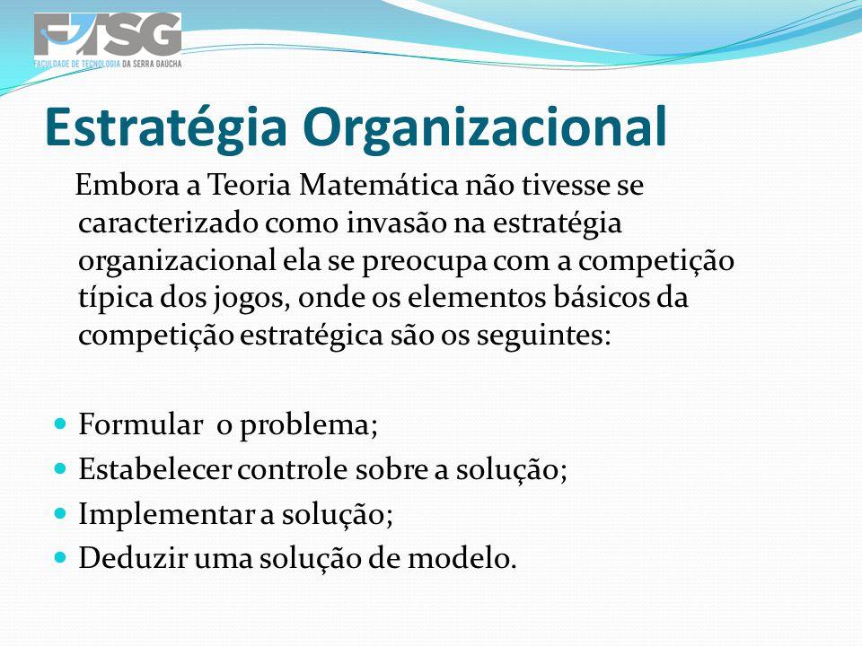 Embora a Teoria Matemática não tivesse se caracterizado como invasão na estratégia organizacional ela se preocupa com a competição típica dos jogos, o