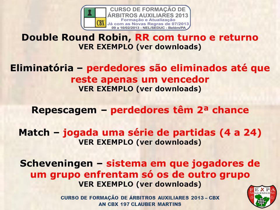 CURSO DE FORMAÇÃO DE ÁRBITROS AUXILIARES 2013 – CBX AN CBX 197 CLAUBER MARTINS Double Round Robin, RR com turno e returno VER EXEMPLO (ver downloads) Eliminatória – perdedores são eliminados até que reste apenas um vencedor VER EXEMPLO (ver downloads) Repescagem – perdedores têm 2ª chance Match – jogada uma série de partidas (4 a 24) VER EXEMPLO (ver downloads) Scheveningen – sistema em que jogadores de um grupo enfrentam só os de outro grupo VER EXEMPLO (ver downloads)