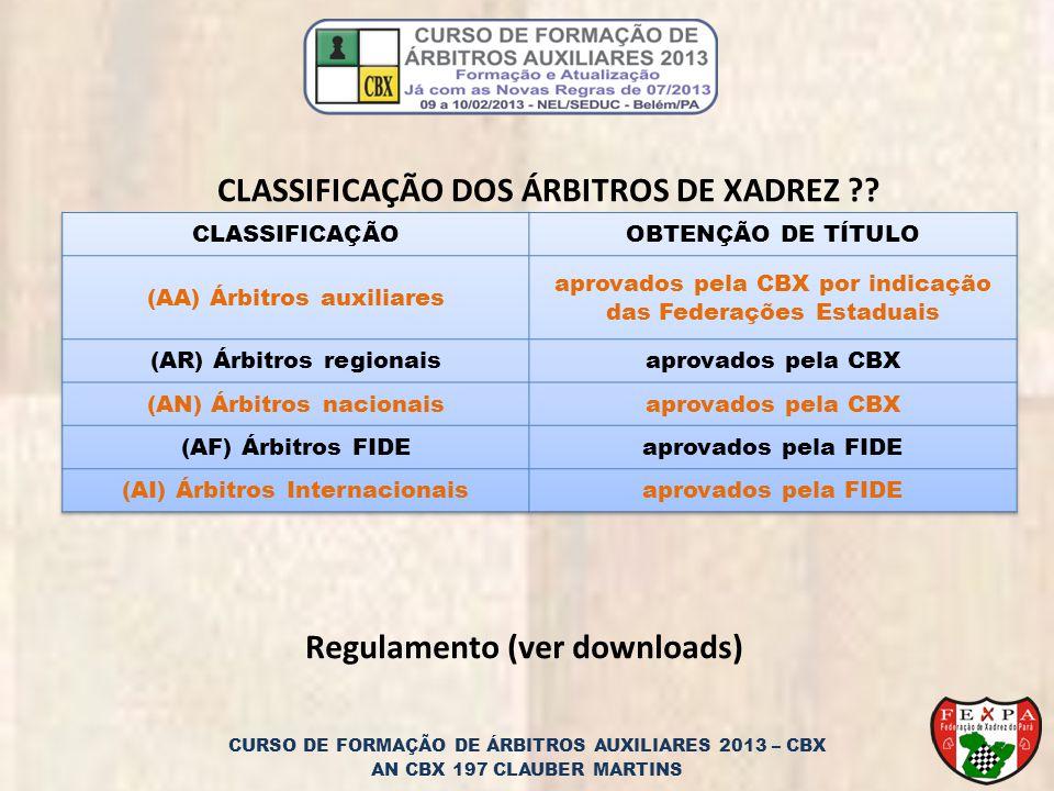 CLASSIFICAÇÃO DOS ÁRBITROS DE XADREZ ?.