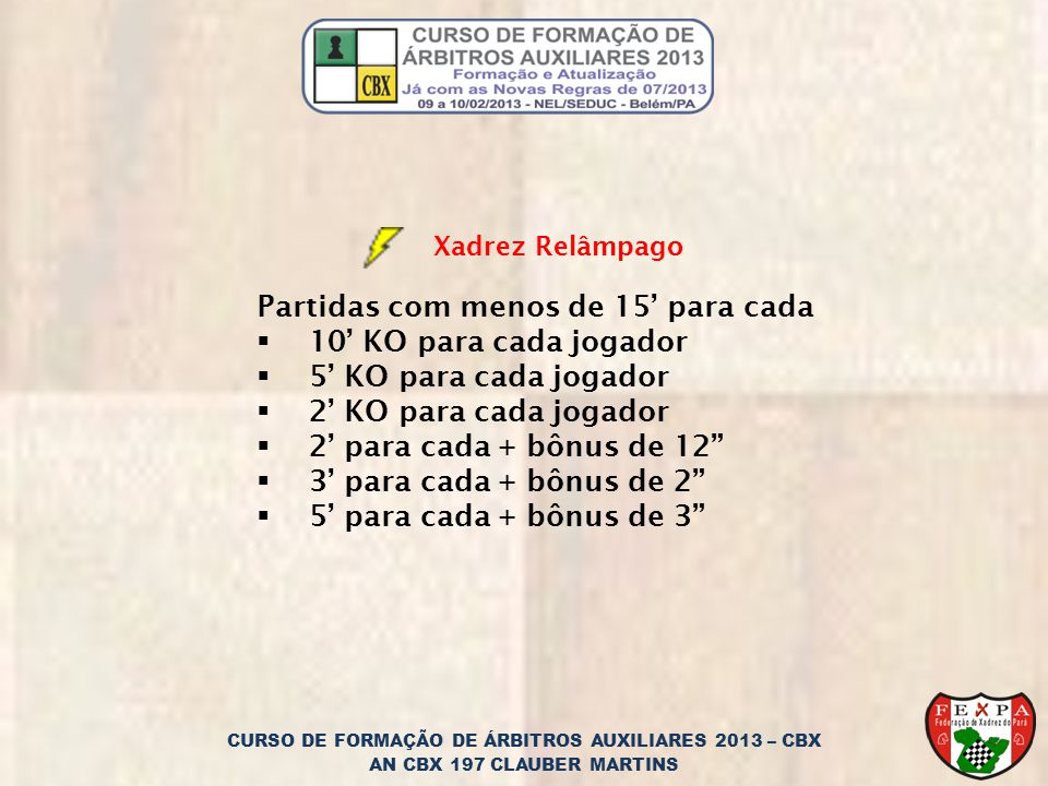 CURSO DE FORMAÇÃO DE ÁRBITROS AUXILIARES 2013 – CBX AN CBX 197 CLAUBER MARTINS Xadrez Relâmpago Partidas com menos de 15 para cada 10 KO para cada jog