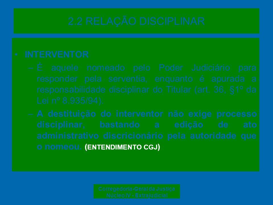 Corregedoria-Geral da Justiça Núcleo IV - Extrajudicial 2.3 COMPETÊNCIA Julgamento DIREÇÃO DO FORO Corregedoria- Geral da Justiça Conselho da Magistratura TITULAR pena suspensã o por 30 dias subsidiária e limitada ilimitada JUIZ DE PAZ ilimitadasubsidiária