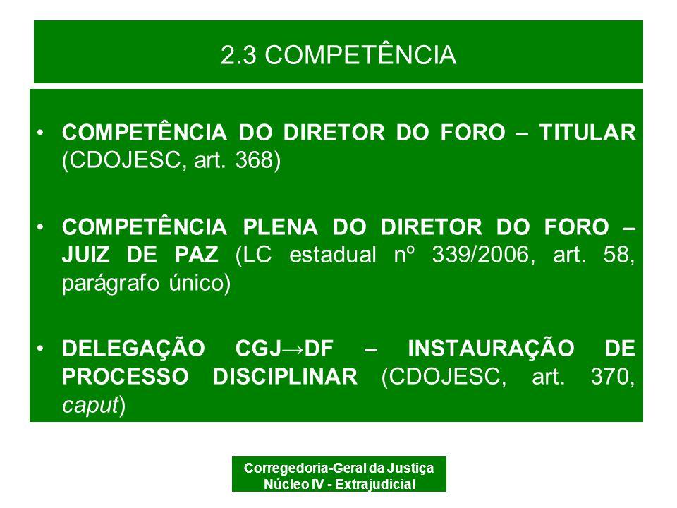 Corregedoria-Geral da Justiça Núcleo IV - Extrajudicial 2.3 COMPETÊNCIA COMPETÊNCIA SUBSIDIÁRIA DA CGJ –Código de Normas desta CGJ, art.