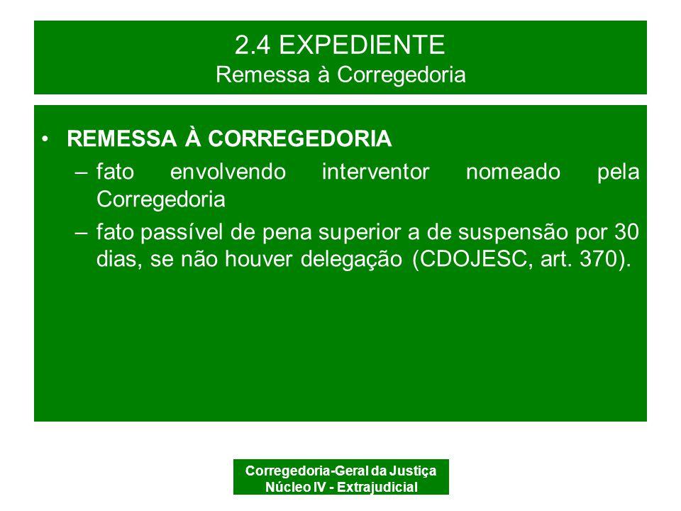 Corregedoria-Geral da Justiça Núcleo IV - Extrajudicial 2.4 EXPEDIENTE EXPEDIENTE REGISTRO E AUTUAÇÃO RECEBER/ ARQUIVAR/ REMETER ARQUIVAR REMETER À CGJ PROCEDIMENTO PREPARATÓRIO PROCESSO DISCIPLINAR