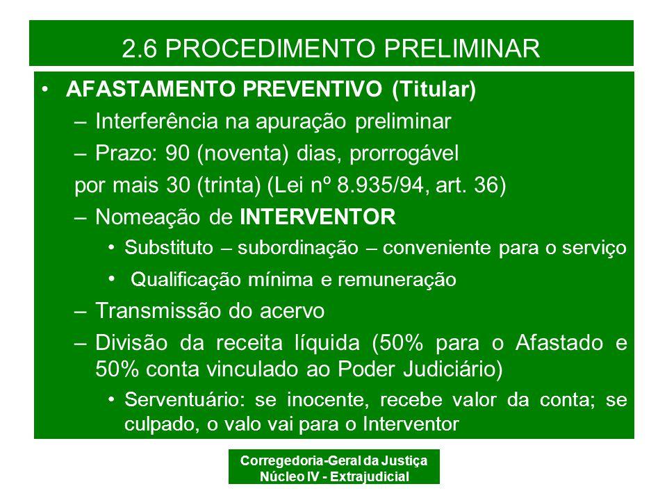 Corregedoria-Geral da Justiça Núcleo IV - Extrajudicial 2.5 PROCEDIMENTO PREPARATÓRIO AFASTAMENTO PREVENTIVO (Juiz de Paz) –Interferência do Juiz de Paz na apuração preliminar –Prazo: 30 (trinta) dias (CDOJESC, art.