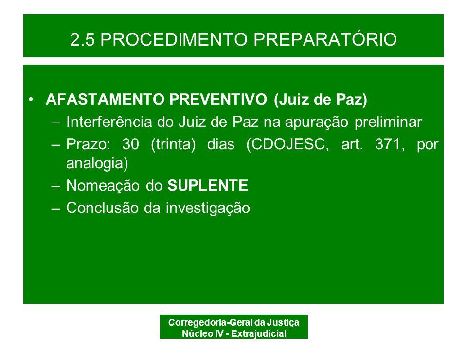 Corregedoria-Geral da Justiça Núcleo IV - Extrajudicial 2.5 PROCEDIMENTO PREPARATÓRIO DECISÃO DILIGÊNCIAS REMETER/ PROCESSAR/ ARQUIVAR REMETER À CGJ PROCESSO DISCIPLINAR ARQUIVAR AFASTAMENTO PREVENTIVO