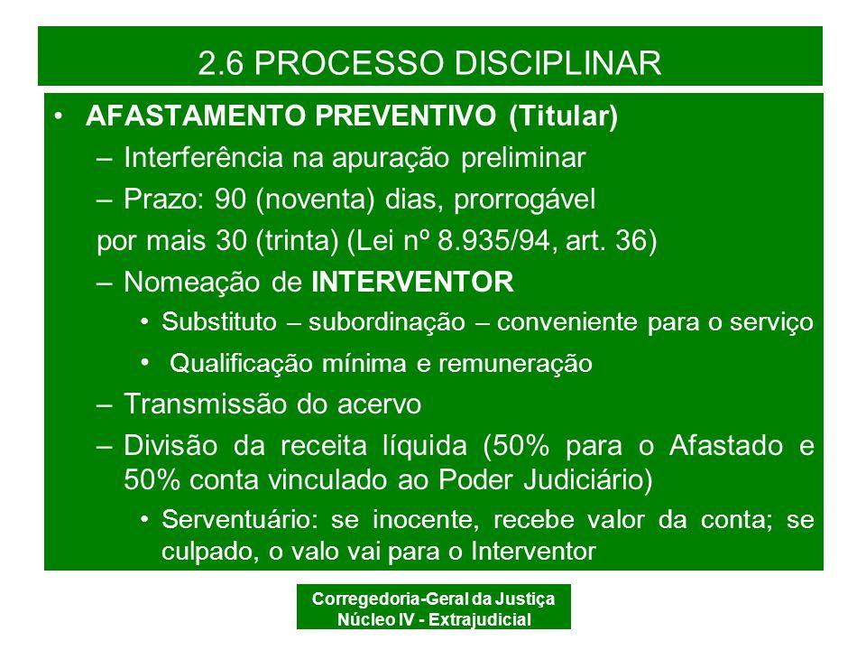 Corregedoria-Geral da Justiça Núcleo IV - Extrajudicial 2.6 PROCESSO DISCIPLINAR AFASTAMENTO PREVENTIVO (Juiz de Paz) –Interferência do Juiz de Paz na apuração preliminar –Prazo: 30 (trinta) dias (CDOJESC, art.