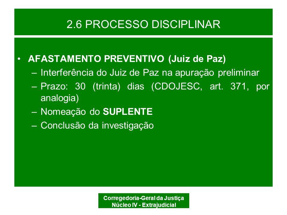 Corregedoria-Geral da Justiça Núcleo IV - Extrajudicial 2.6 PROCESSO DISCIPLINAR DECISÃO PORTARIA AFASTAMENTO PREVENTIVO SIM CITAÇÃO INTIMAÇÃO CITAÇÃO DEFESA DECURSO DO PRAZO REVELIA Defensor Dativo NÃO
