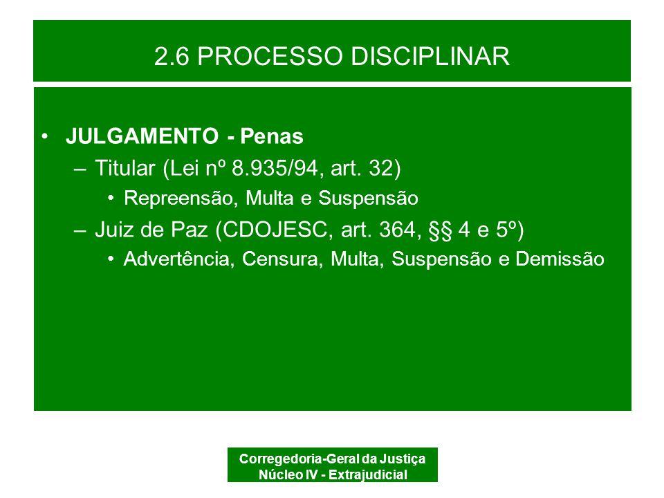 Corregedoria-Geral da Justiça Núcleo IV - Extrajudicial 2.6 PROCESSO DISCIPLINAR –Dosimetria (CDOJESC, art.