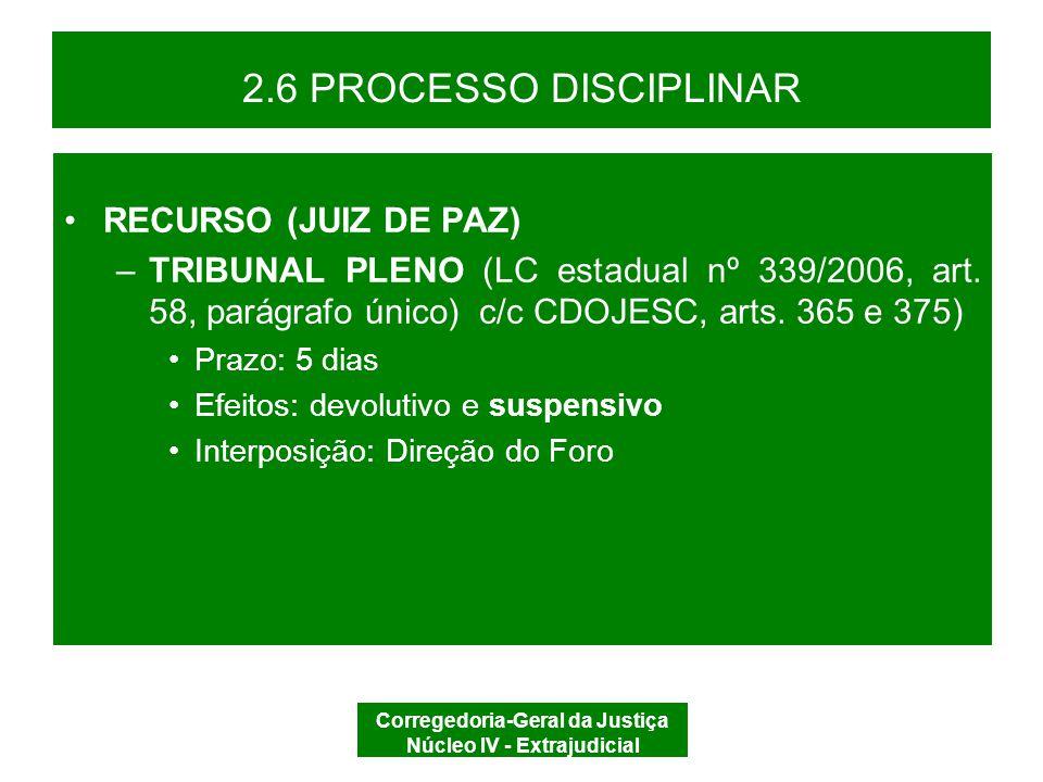 Corregedoria-Geral da Justiça Núcleo IV - Extrajudicial 2.6 PROCESSO DISCIPLINAR TRÂNSITO EM JULGADO EXECUÇÃO ARQUIVAR
