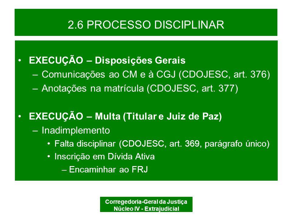 Corregedoria-Geral da Justiça Núcleo IV - Extrajudicial 2.6 PROCESSO DISCIPLINAR EXECUÇÃO – Suspensão e Demissão (Juiz de Paz) –Disposições gerais –Nomeação do suplente