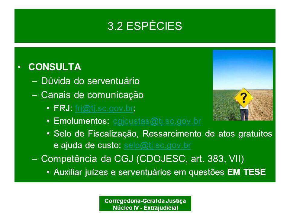 Corregedoria-Geral da Justiça Núcleo IV - Extrajudicial 3.2 ESPÉCIES SUSCISTAÇÃO DE DÚVIDA (Lei nº 6.015/73, art.