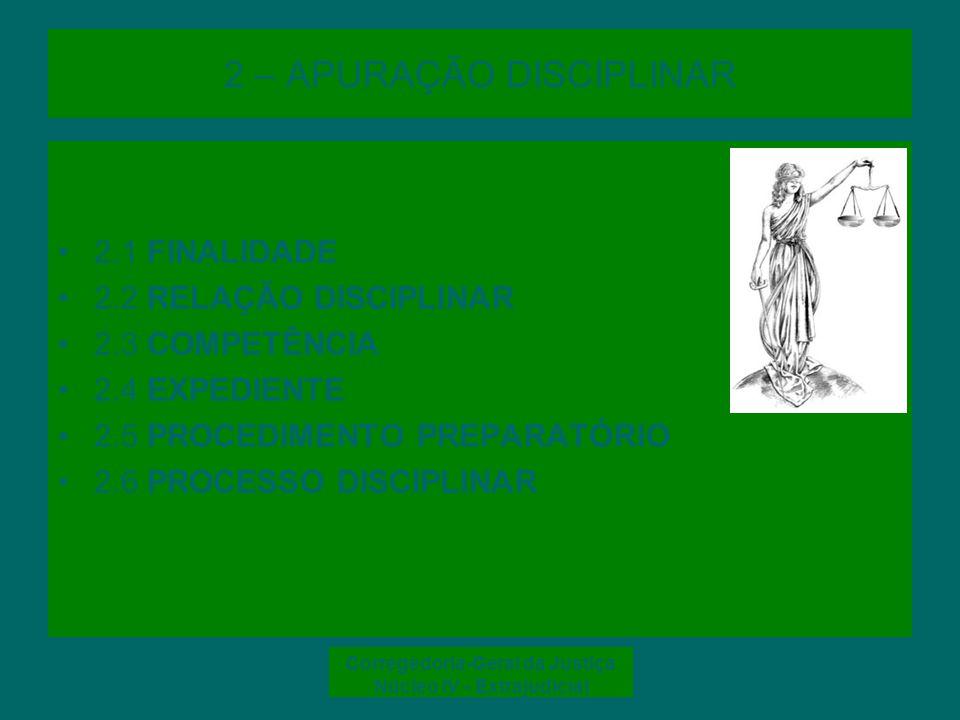 Corregedoria-Geral da Justiça Núcleo IV - Extrajudicial 2.1 FINALIDADE FINALIDADE –Verificar a repercussão disciplinar de fato imputado a serventuário à luz das normas e princípios constitucionais INFRAÇÃO DISCIPLINAR é toda a ação ou omissão do serventuário e juiz de paz que configure hipótese prevista na lei de regência (Código de Divisão e Organização Judiciárias do Estado de Santa Catarina – CDOJESC e Lei nº 8.935/94, art.