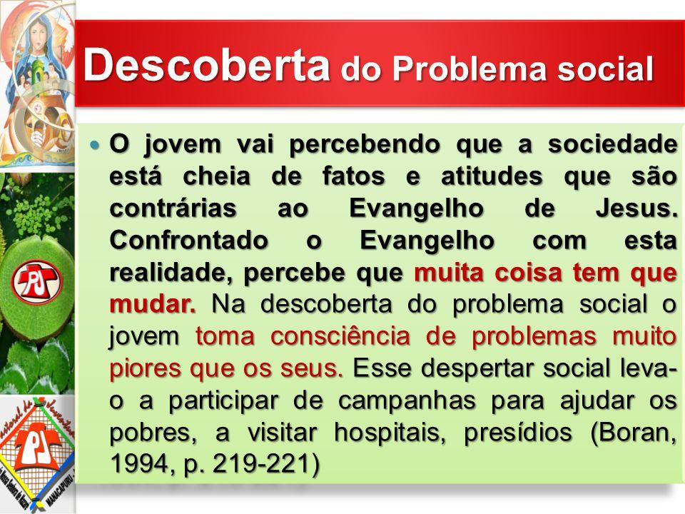 O jovem vai percebendo que a sociedade está cheia de fatos e atitudes que são contrárias ao Evangelho de Jesus. Confrontado o Evangelho com esta reali