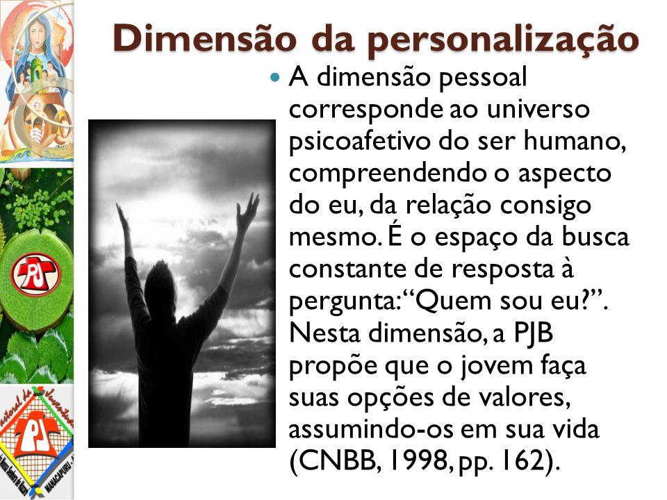 Dimensão da personalização A dimensão pessoal corresponde ao universo psicoafetivo do ser humano, compreendendo o aspecto do eu, da relação consigo me