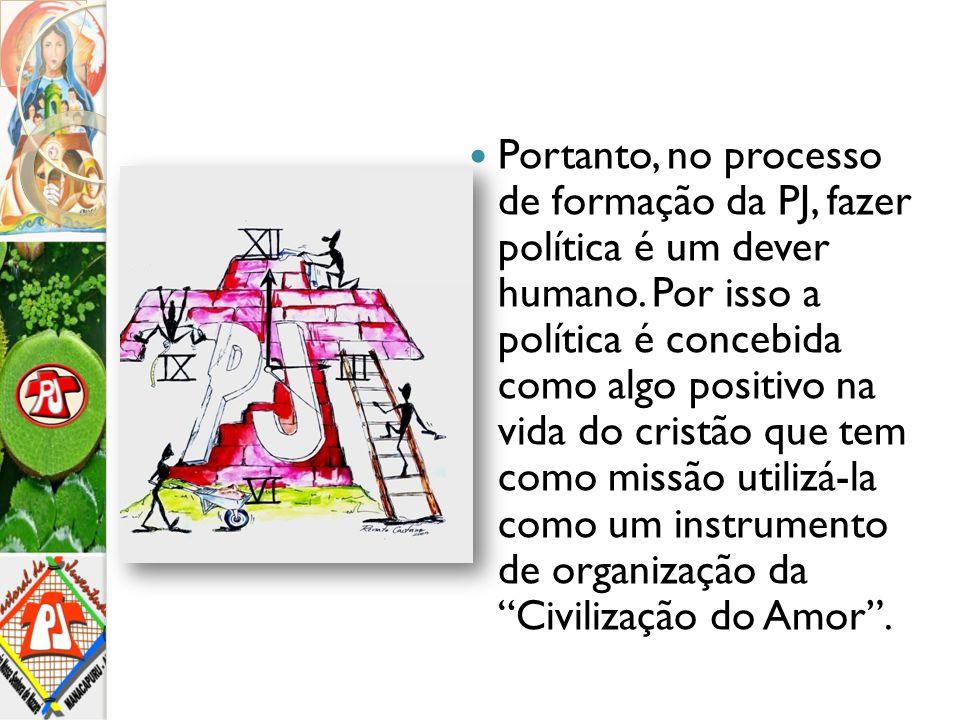 Portanto, no processo de formação da PJ, fazer política é um dever humano. Por isso a política é concebida como algo positivo na vida do cristão que t