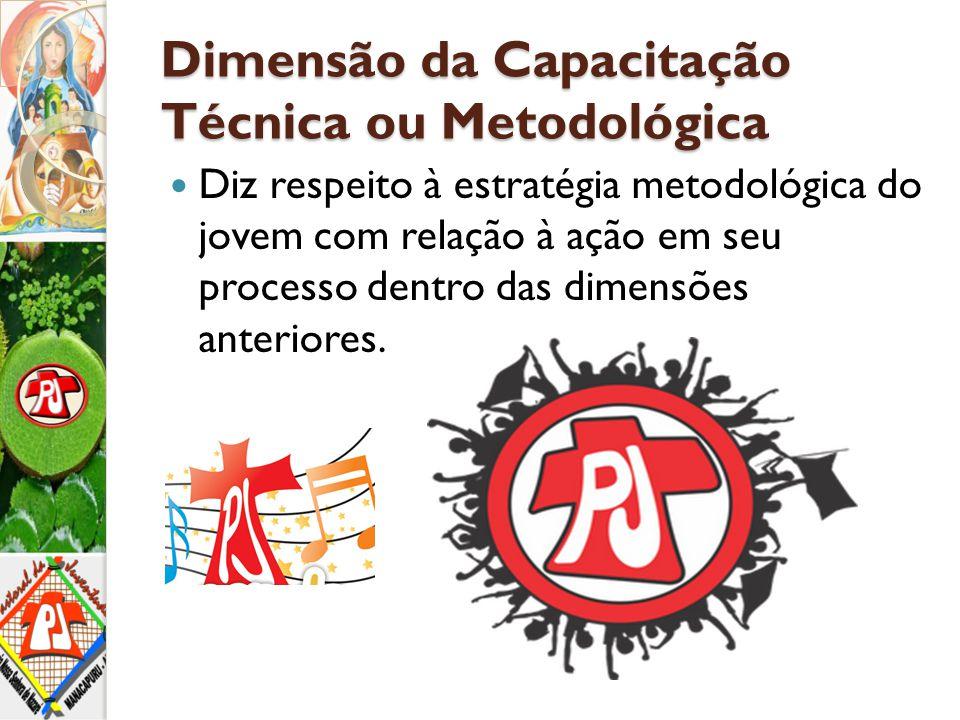 Dimensão da Capacitação Técnica ou Metodológica Diz respeito à estratégia metodológica do jovem com relação à ação em seu processo dentro das dimensõe