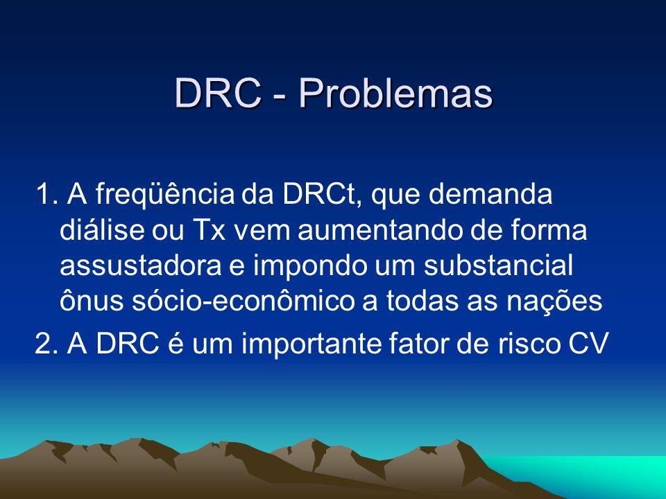 DRCt no Brasil Política Acesso universal à diálise Estrutura e funcionamento das unidades regulada pela ANVISA (RDC 154 – Jul 2004 / Agost 2006) –Máquinas de proporção com controlador de UF –Tratamento da água por osmose reversa Preço atual da sessão de HD no Brasil –~R$ 143,00 (~US$60) – medicações não incluídas Investimento maciço em Transplante renal nas últimas décadas