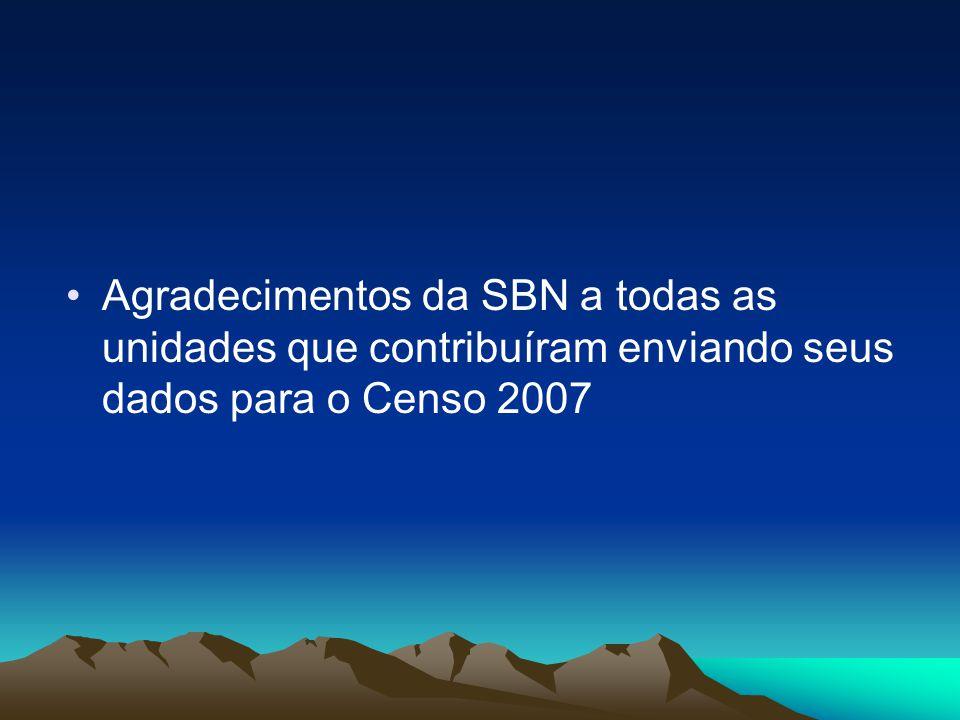 Agradecimentos da SBN a todas as unidades que contribuíram enviando seus dados para o Censo 2007
