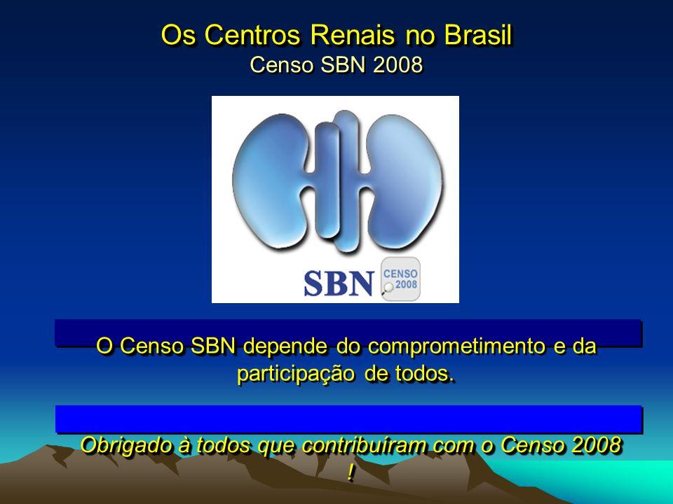Os Centros Renais no Brasil Os Centros Renais no Brasil Censo SBN 2008 O Censo SBN depende do de todos. O Censo SBN depende do comprometimento e da pa