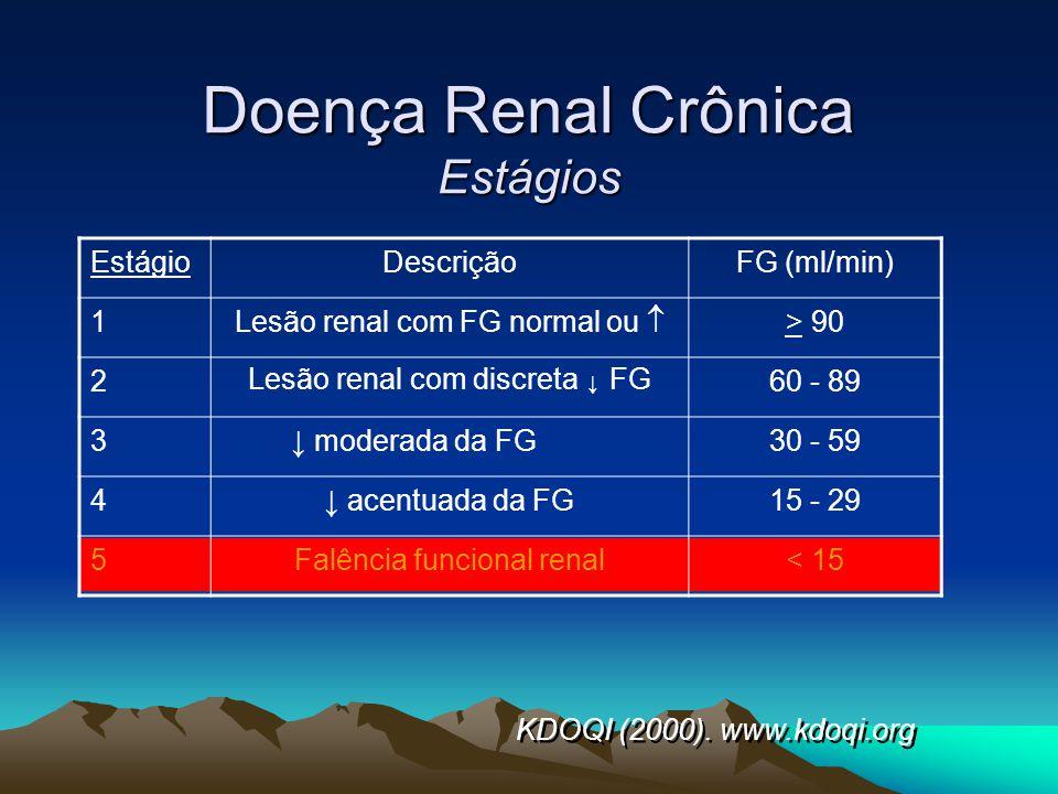 Doença Renal Crônica Estágios EstágioDescriçãoFG (ml/min) 1 Lesão renal com FG normal ou > 90 2 Lesão renal com discreta FG 60 - 89 3 moderada da FG30
