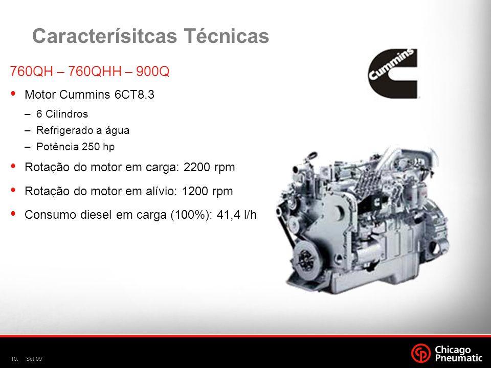 10.Set 09 Caracterísitcas Técnicas 760QH – 760QHH – 900Q Motor Cummins 6CT8.3 –6 Cilindros –Refrigerado a água –Potência 250 hp Rotação do motor em ca