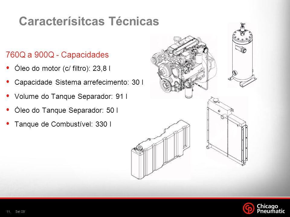 11.Set 09 Caracterísitcas Técnicas 760Q a 900Q - Capacidades Óleo do motor (c/ filtro): 23,8 l Capacidade Sistema arrefecimento: 30 l Volume do Tanque