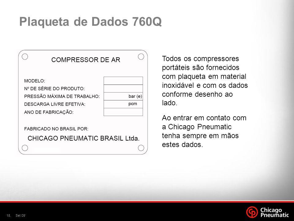 18.Set 09 Plaqueta de Dados 760Q Todos os compressores portáteis são fornecidos com plaqueta em material inoxidável e com os dados conforme desenho ao