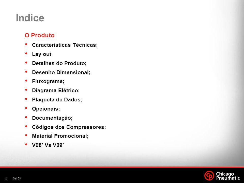 2.Set 09 O Produto Características Técnicas; Lay out Detalhes do Produto; Desenho Dimensional; Fluxograma; Diagrama Elétrico; Plaqueta de Dados; Opcio