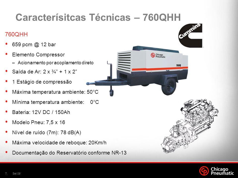 8.Set 09 Caracterísitcas Técnicas – 900Q 900Q 860 pcm @ 7 bar Elemento Compressor –Acionamento por acoplamento direto Saída de Ar: 2 x ¾ + 1 x 2 1 Estágio de compressão Máxima temperatura ambiente: 50°C Mínima temperatura ambiente: 0°C Bateria: 12V DC Modelo Pneu: 7,5 x 16 Nível de ruído (7m): 78 dB(A) Máxima velocidade de reboque: 20Km/h Documentação do Reservatório conforme NR-13
