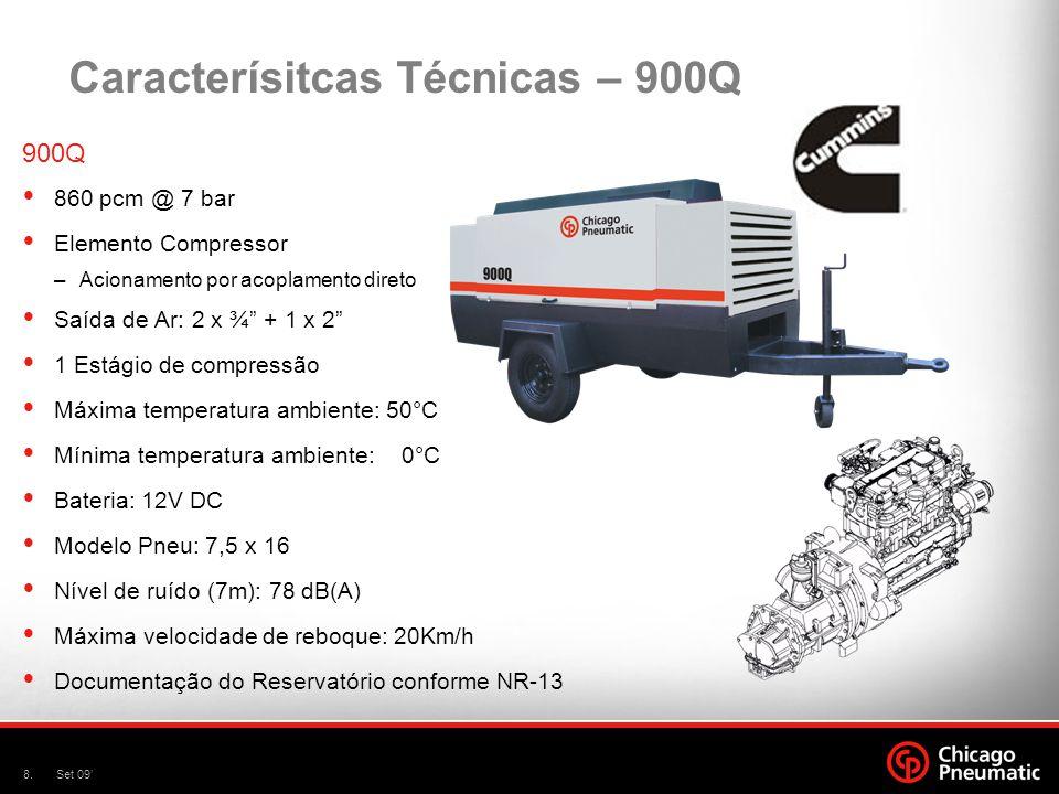 8.Set 09 Caracterísitcas Técnicas – 900Q 900Q 860 pcm @ 7 bar Elemento Compressor –Acionamento por acoplamento direto Saída de Ar: 2 x ¾ + 1 x 2 1 Est