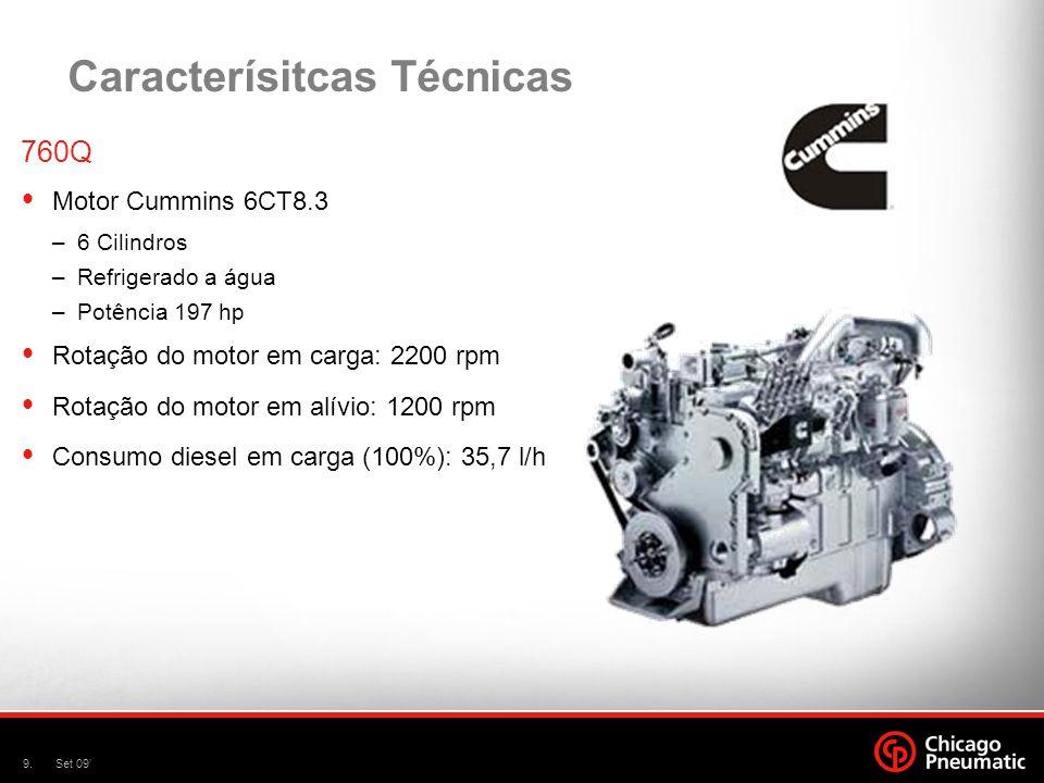 10.Set 09 Caracterísitcas Técnicas 760QH – 760QHH – 900Q Motor Cummins 6CT8.3 –6 Cilindros –Refrigerado a água –Potência 250 hp Rotação do motor em carga: 2200 rpm Rotação do motor em alívio: 1200 rpm Consumo diesel em carga (100%): 41,4 l/h