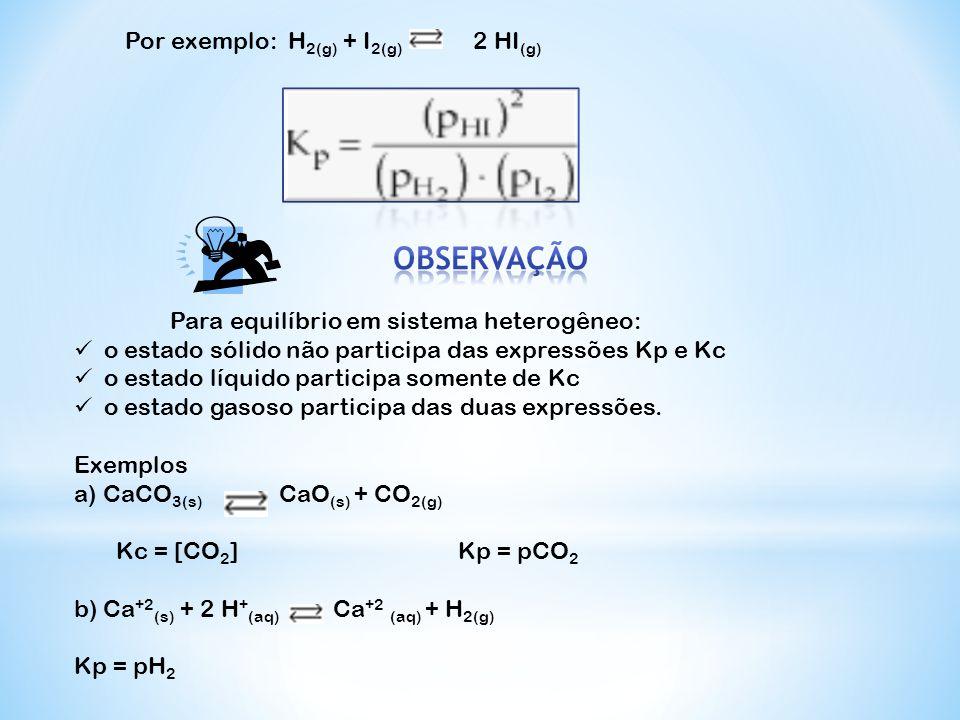 Por exemplo: H 2(g) + I 2(g) 2 HI (g)